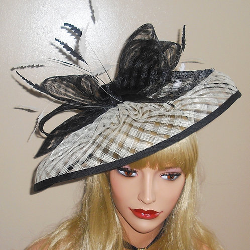 Cream & Black Fascinator Hat on band 4816651