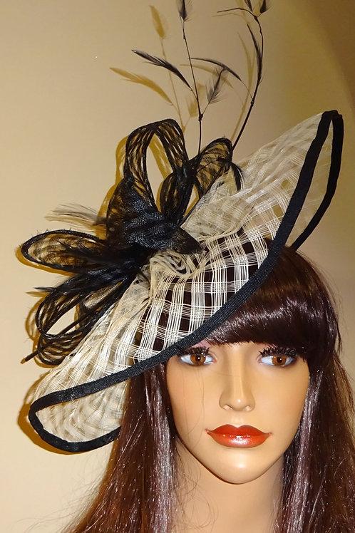 Black & Cream Fascinator, Hatinator Hat on band 747458