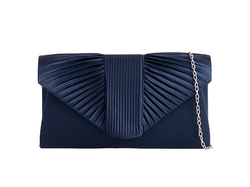 Navy BluePleated clutch Bag with strap 100621