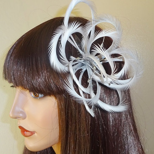 Silver looped Fascinator comb with crystals 79798
