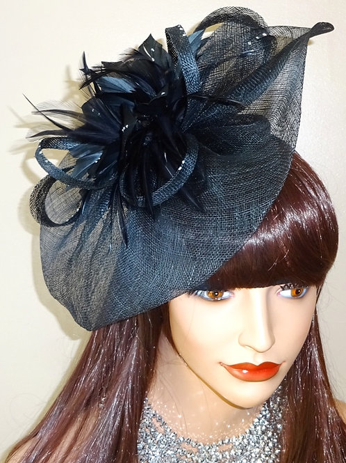 Black Sinamay Fascinator Hat with tiny silver dots on band