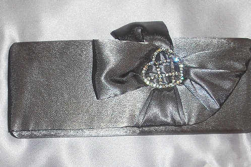 Dark Silver Gunmetal Grey Satin Clutch Bag 975487