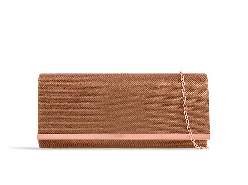Dark Rose Gold / Copper sparkly clutch Bag with strap 100621
