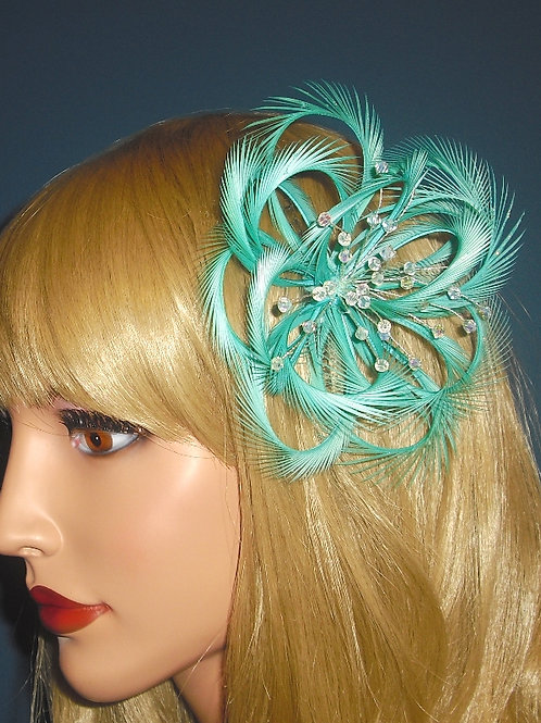 Jade Green Teal Looped Fascinator Comb with Crystals