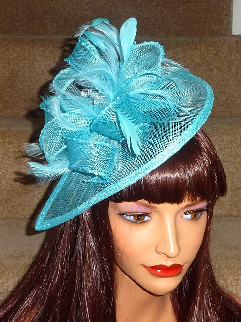 Light Turquoise Teardrop Fascinator Hat woth Crystals on band 3999987