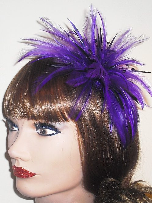Purple Fascinator comb with Crystls