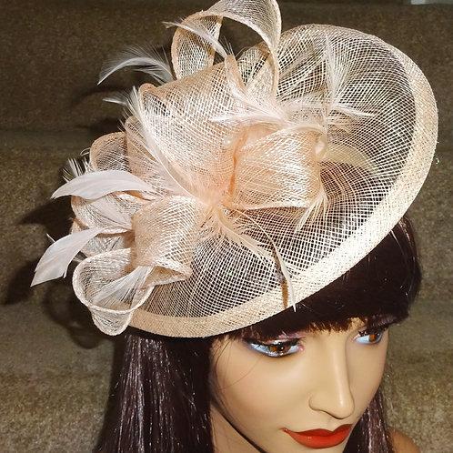 Pale Peach Teardrop Fascinator Hat on Band 387890