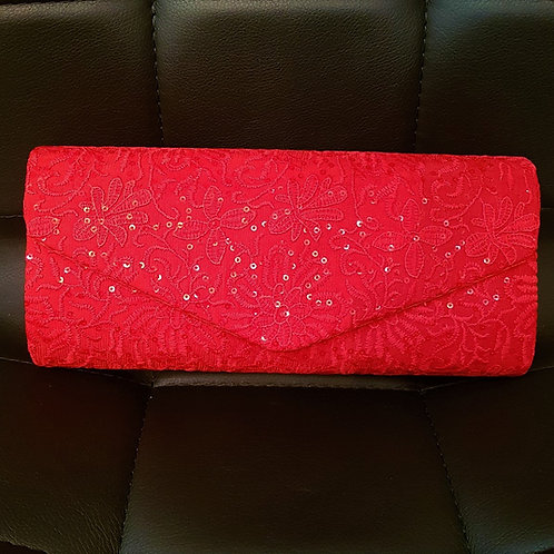 Red clutch Bag with strap 828269