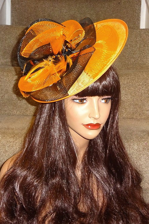 Orange & Black Hat on band with crystals