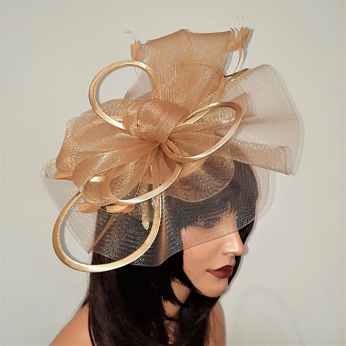 GoldCrin Fascinator Hat with satin loopsmounted on to a band 100621