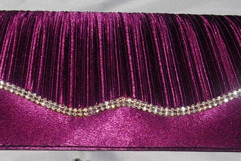 Magenta / Purple Satin Clutch Bag