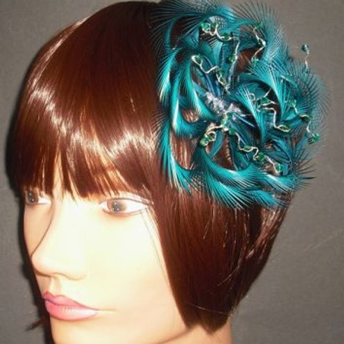Teal Green Fascinator with Crystals