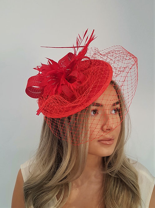 Red Hat with Veiling & crystals on a band 390278