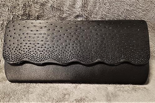 Elegant Black satin bag with black beading & strap
