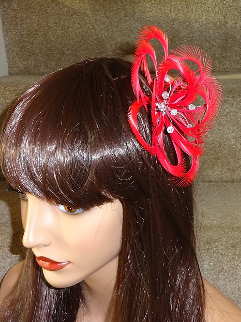 Red Looped Fascinator Comb 517811