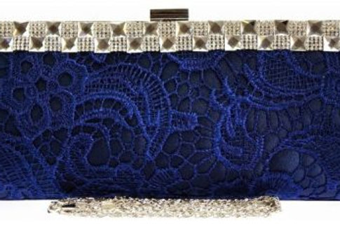 Blue Lace & Jewelled Clutch Bag