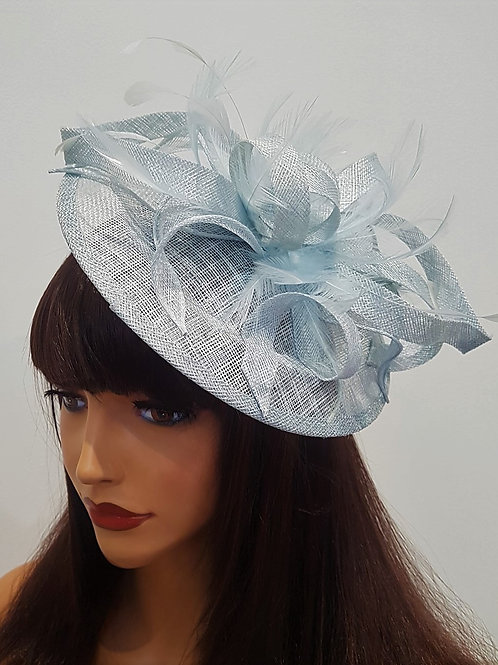 Ice Blue Sinamay Saucer Hat on band 188811