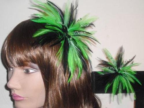 Black & Green Fascinator & Wrist Corsage set