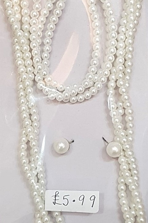 Twisted Pearl Necklace, Earrings & Bracelet Set