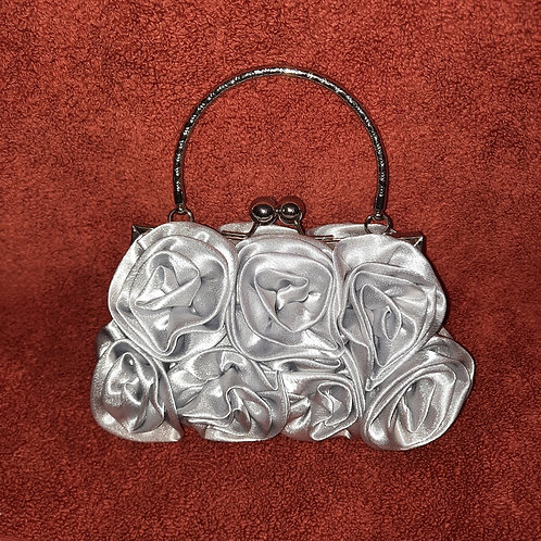 Silver Rose satin Bag with handle 070621