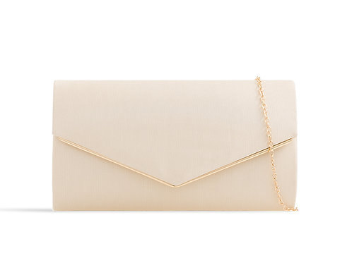 Cream and Goldclutch Bag with strap 100621
