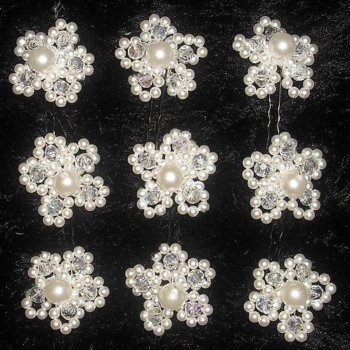 Pearl & Crystal Hair Pins x1