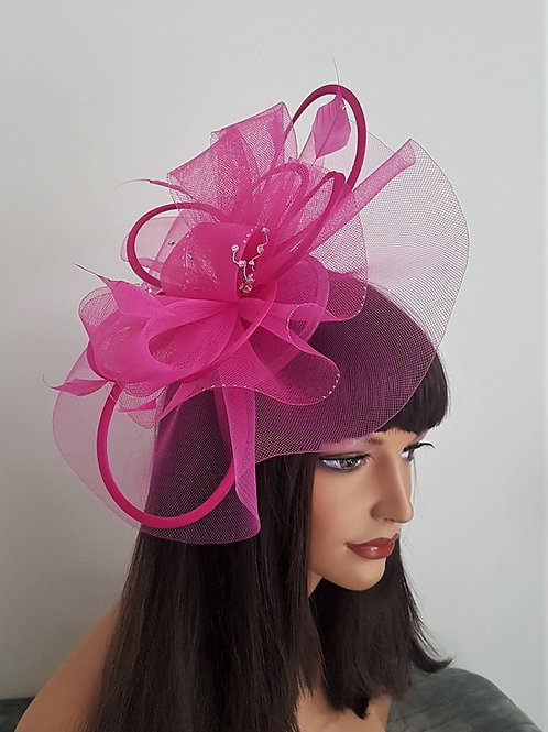 Cerise, Hot Pink & Silver sparkly Fascinator with silver Crystals, on a band