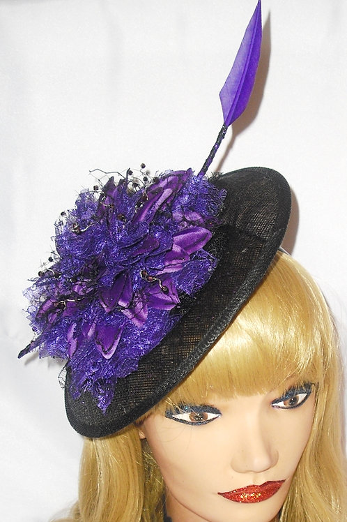 Purple & Black Saucer Hat with Arrow Feather