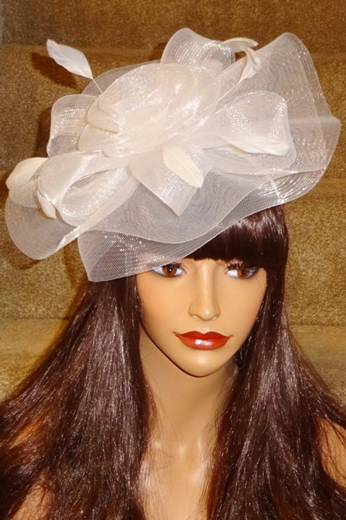 White Crin Fascinator Hat with a silver sparkle on band 556980