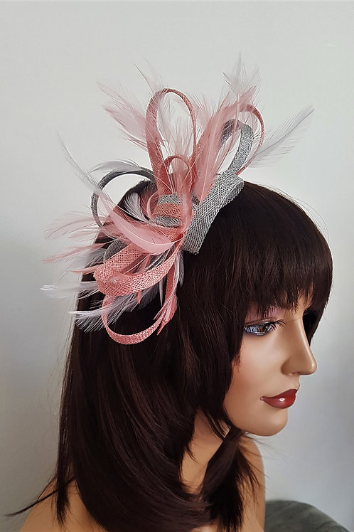 Pink & Silver Sinamay Looped Fascinator band 7191887