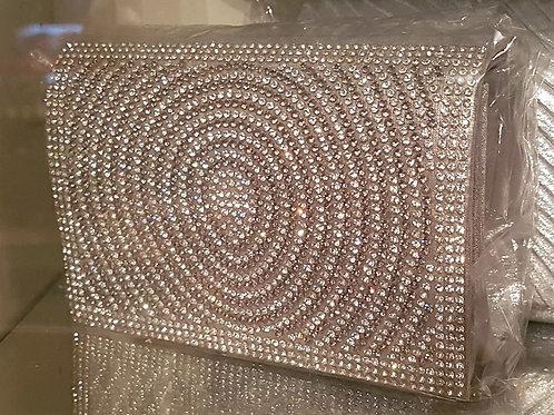 Small silver Rhinestone Bag with chain strap 55687