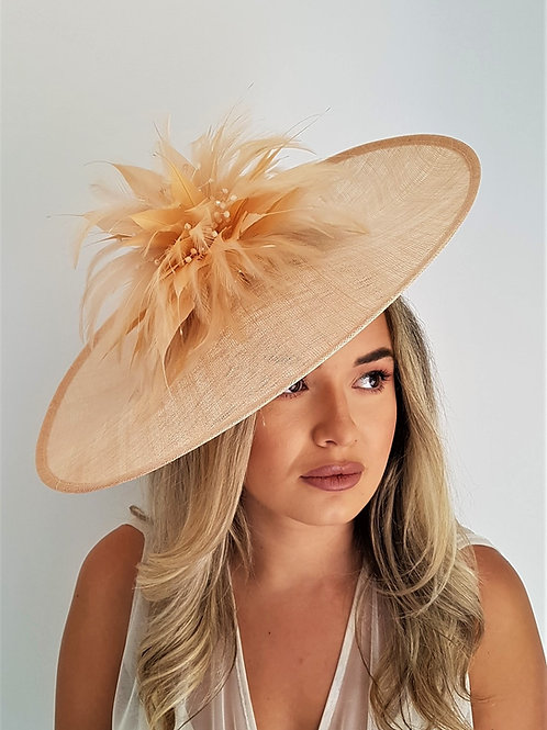 Large Peach Exclusive Saucer Hat on a band with crystal beading 655652