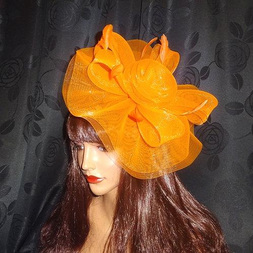 Orange Crin Fascinator Hat on Band 582947