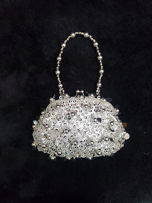 Fully Beaded Silver Bag with Beaded handle
