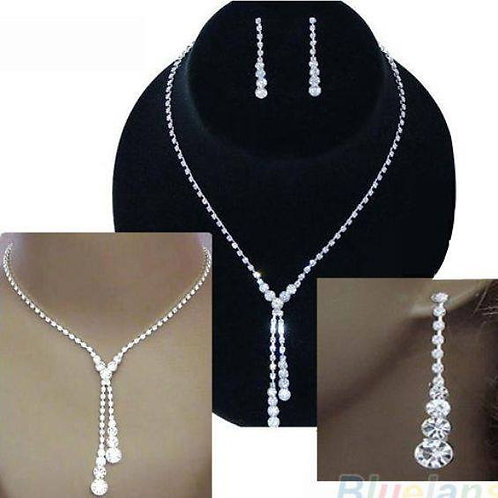Silver Drop Necklace & Earrings Set
