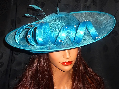 Turquoise Upturn Sinamay Hat finished with silver beading on band