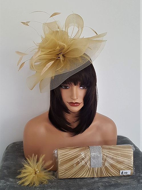 Pale Gold Fascinator Hat on a band 3837445
