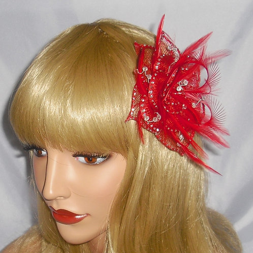 Red & Silver Sinamay Fascinator Clip