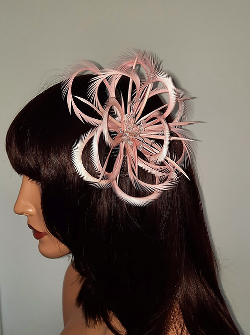 Pink handmade looped biot Fascinator comb with crystals 30721