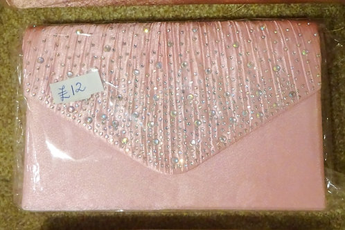 Pale Pink Clutch Bag with strap and Jewelled front
