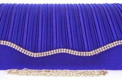 Cobalt Blue Rhinestone Wave Clutch Bag