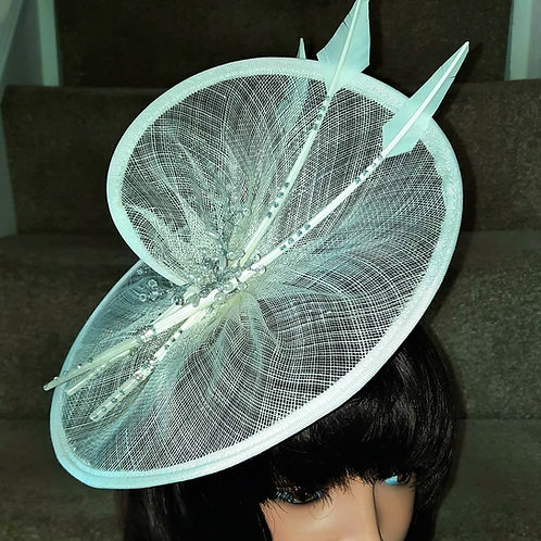 Ivory Hatinator Fascinator with Arrow Feathers and crystals on a band