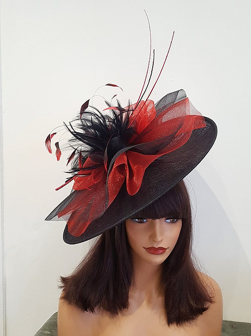 Large  Exclusive Red & Black Hat with Quills on a band 918643