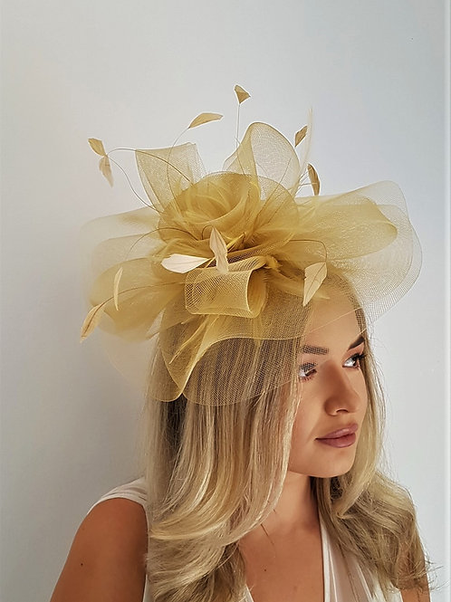 Gold Crin Fascinator on a band 810913