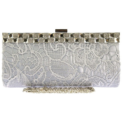 Silver Lace Bag with Jewel Trim