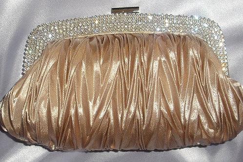 Nude / Beige Rhinestone Crystal Clutch Bag 98098