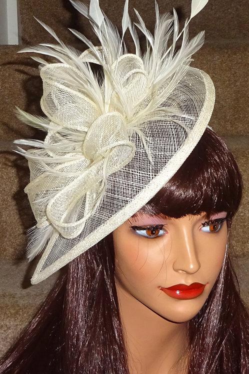 Cream sinamay Teardrop Facinator Hatinator Hat on Band 95673
