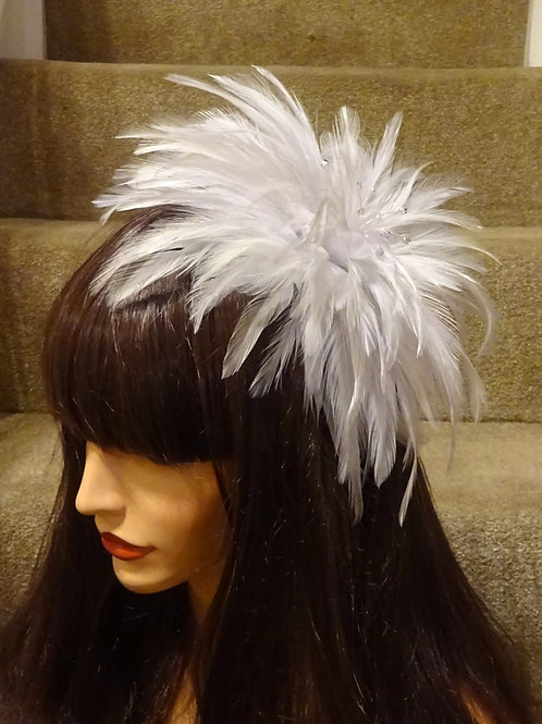 Silver Feather Fascinator Comb with Crystals (various shades)