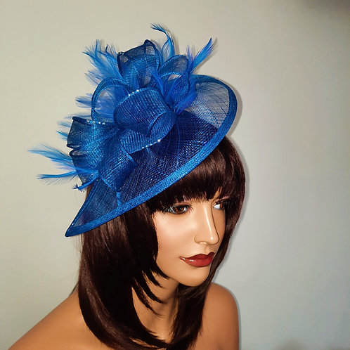 Cobalt Blue Teardrop Fascinator on a band with silver sparkle 30721