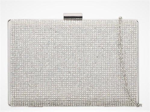 Silver rhinestone diamanteclutch Bag with strap 100621